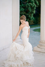 Floral Dropped Waist Mermaid Wedding Dress with Strapless Sweetheart Neckline