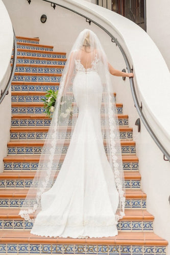 Floral Lace Edge Chapel Length One Layer Bridal Veil