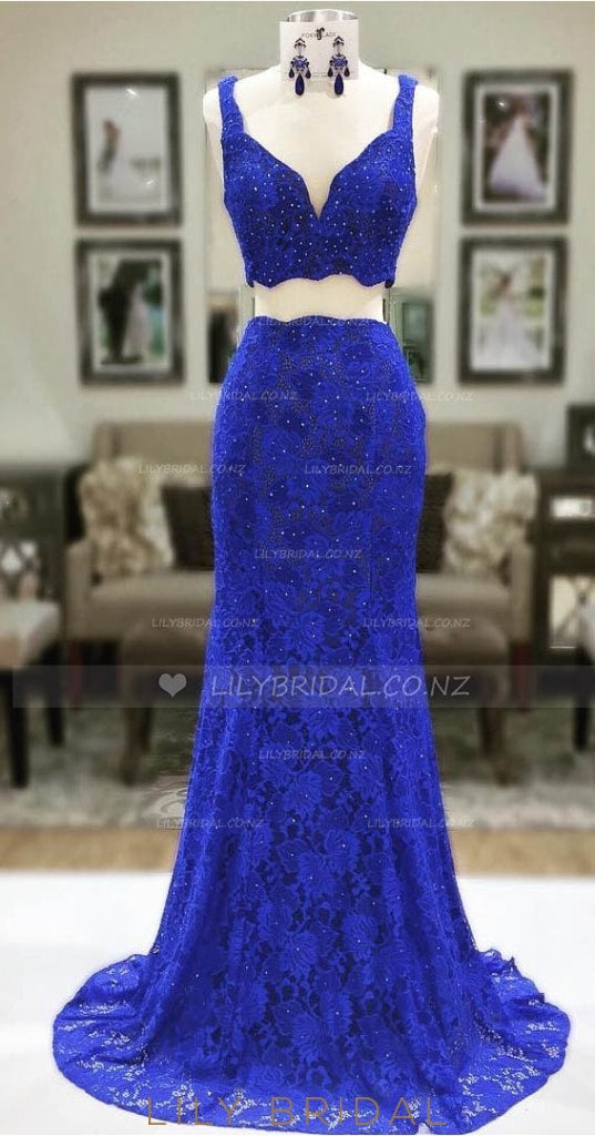 Floral Two-Piece Strap Lace Prom Dress With Beading