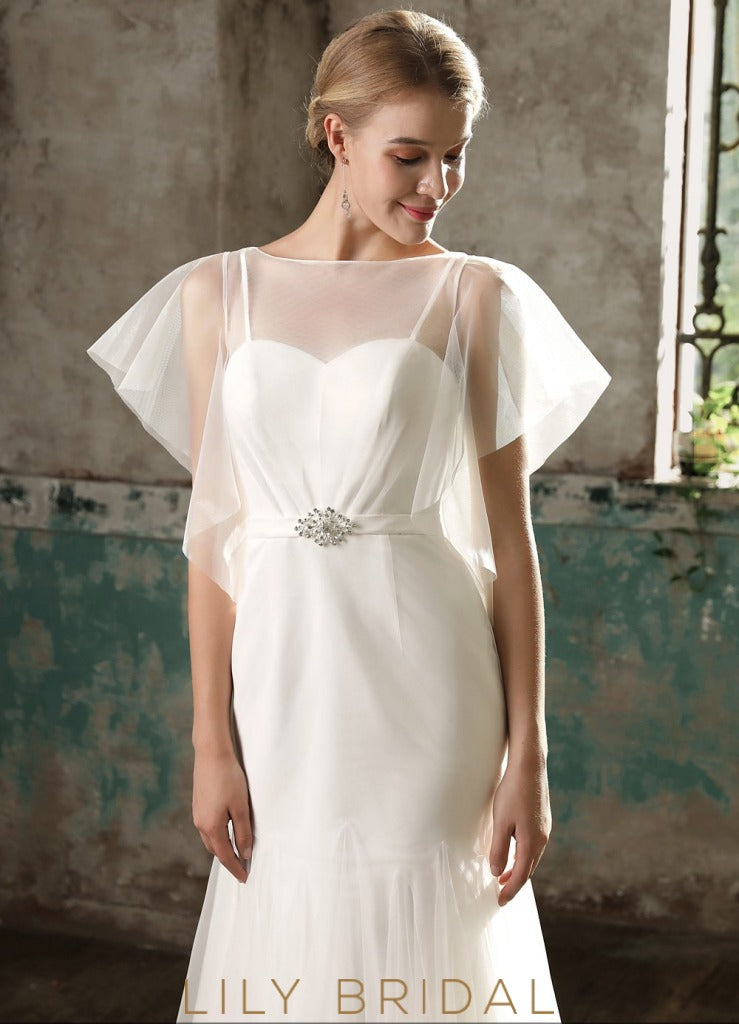 Flutter Sleeve with Illusion Neckline Dropped Wedding Dress