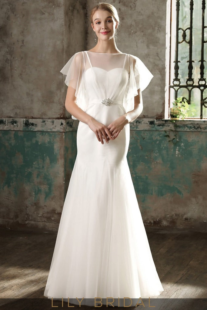 Flutter Sleeve with Illusion Neckline Dropped Waist Mermaid Wedding Dress