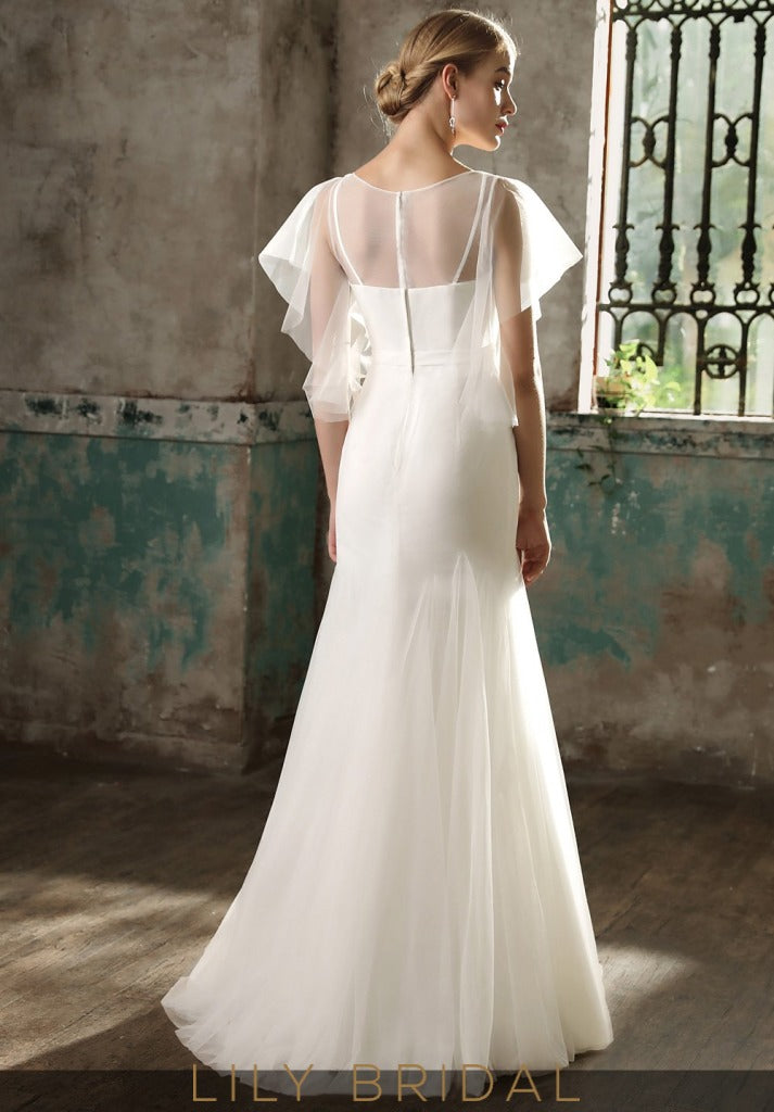 Flutter Sleeve with Dropped Waist Mermaid Wedding Dress