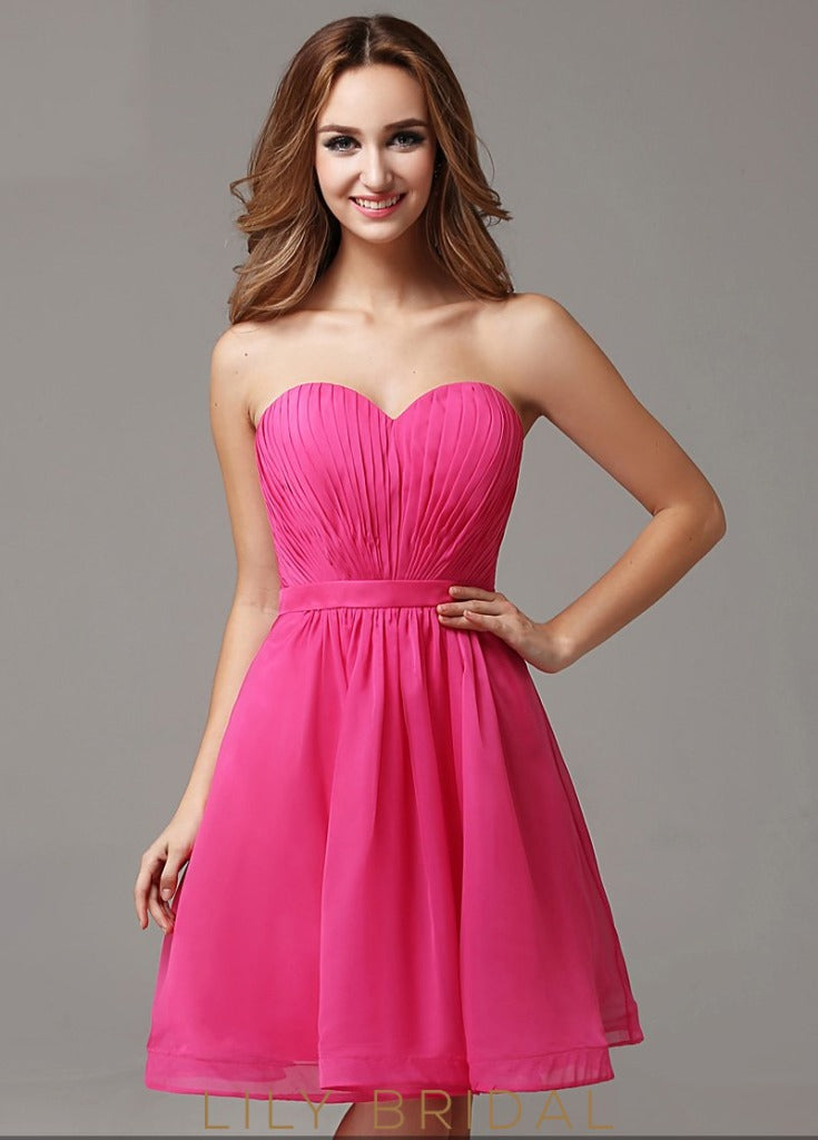 Chiffon Sweetheart Strapless A-Line Short Cocktail Dress