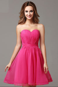 Fuchsia Chiffon Sweetheart Strapless A-Line Short Cocktail Dress