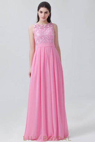 Fuchsia Pleated Chiffon Bridesmaid Dress With Jewel Neck Lace Bodice