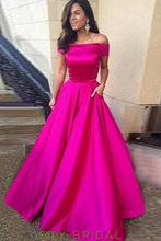 Fuchsia Satin Off-the-Shoulder Floor-Length A-Line Prom Dress