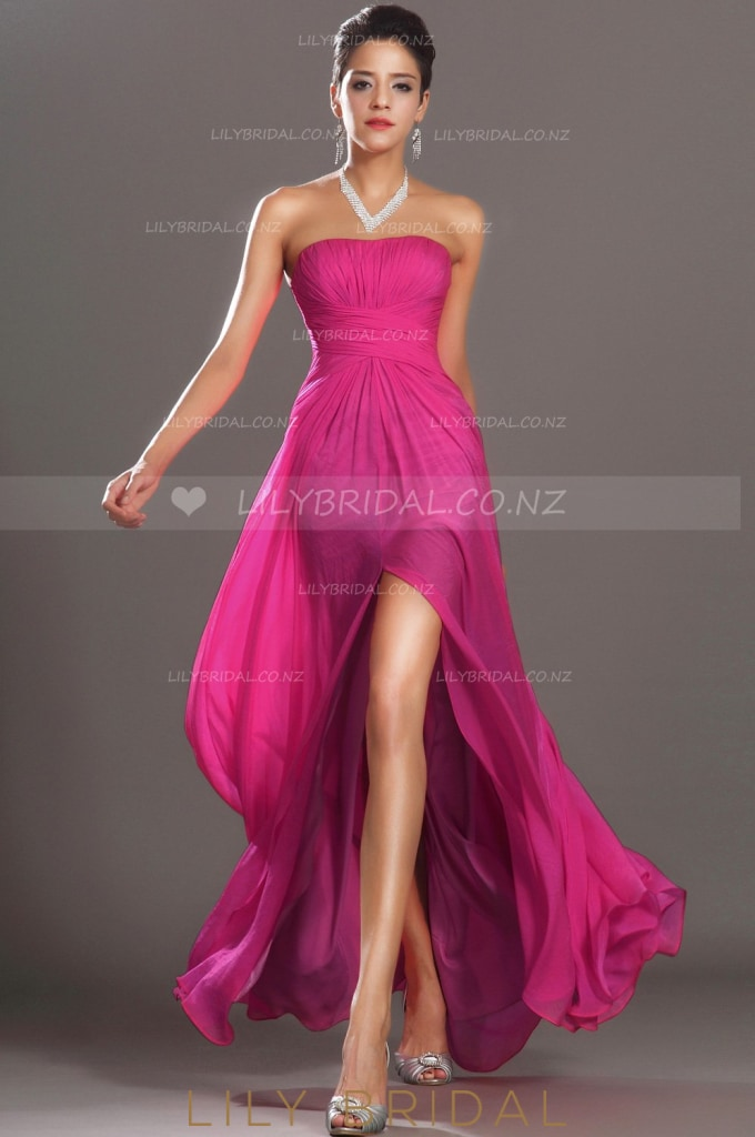 fuchsia-strapless-split-a-line-floor-length-chiffon-evening-dress-with-ruched-bodice