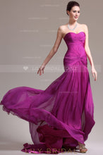 Fuchsia Sweetheart Strapless Ruched Chiffon Mermaid Evening Dress With Sweep Train
