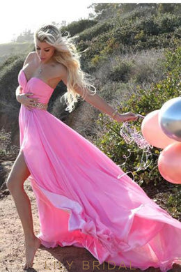 Fuchsia Sweetheart Strapless Split Chiffon Beach Wedding Dress With Beaded Belt