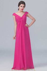 Fuchsia V-Neck Long Chiffon Bridesmaid Dress