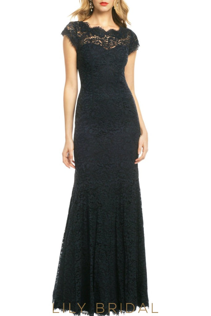 Glamorous Black Lace Cap Sleeve Sheath Bridesmaid Dress With Keyhole Back