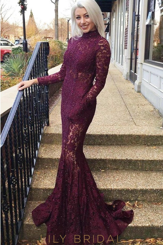 9567f74fb4b Glamorous Grape Lace High Neckline Long Sleeve Mermaid Prom Dress ...