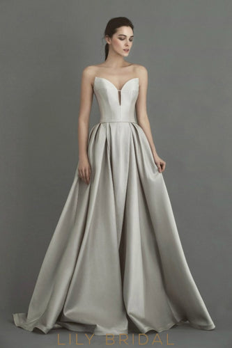 Glamorous Silver Satin Wedding Dress