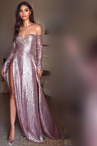 Glittering Sequin Off Shoulder Long Sleeves Long Slit Sheath Prom Dress