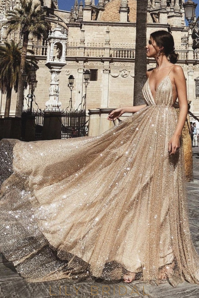 Gorgeous Glittering Spaghetti Straps Sleeveless Long Pleated Champagne Prom Dress