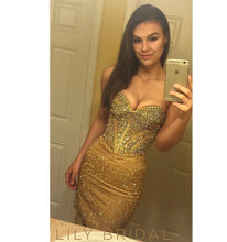 Sequin Strapless Sweetheart Beaded Sheath Knee-Length Prom Dress