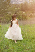 Square Neck V-Back Floor-Length Tulle Flower Girl Dress With Sequin Bodice