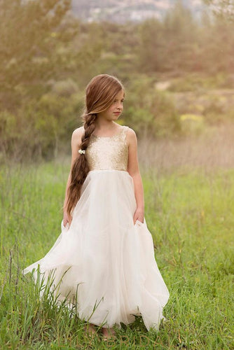 Ivory Square Neck V-Back Floor-Length Tulle Flower Girl Dress With Sequin Bodice