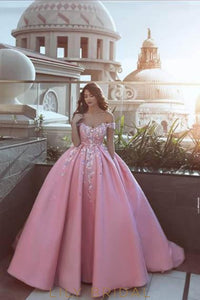 Gorgeous Applique Off Shoulder Pleated Candy Pink Ball Gown Prom Dress