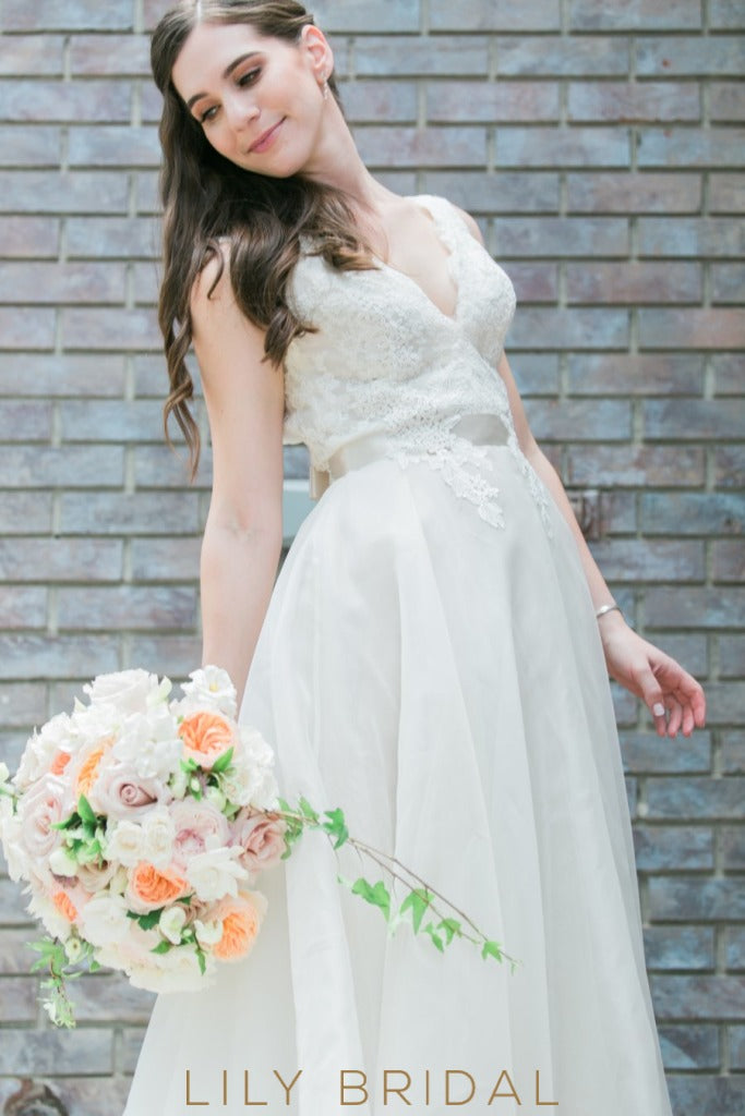 A Line Ivory Chapel Lace Antique Wedding Gown