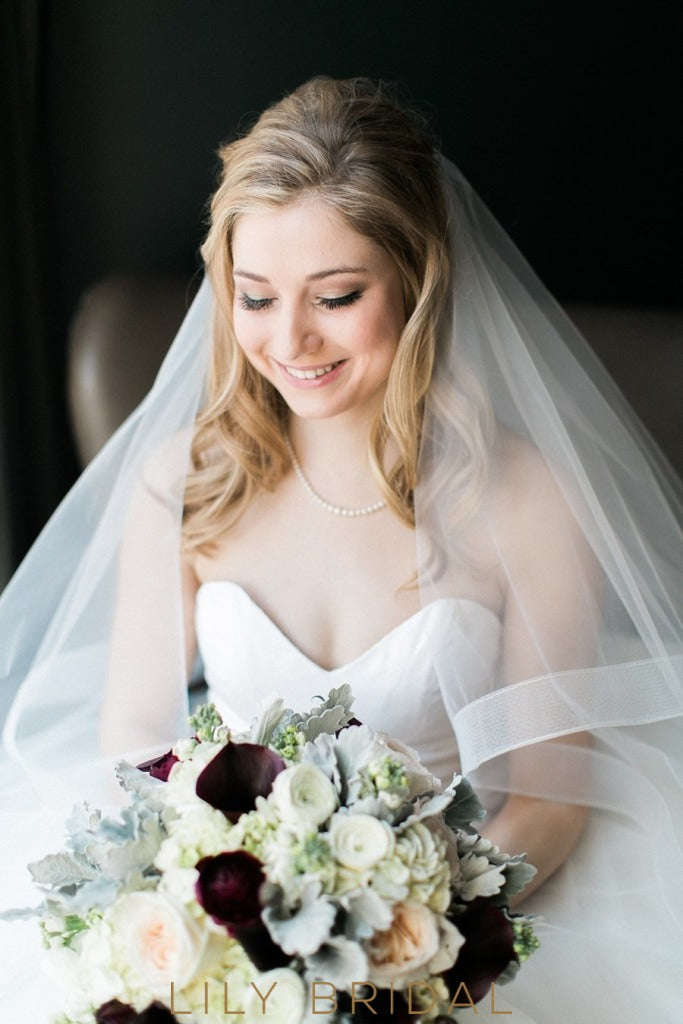 Two Tier Chapel Length  Wedding Veil in Silk Effect Tulle
