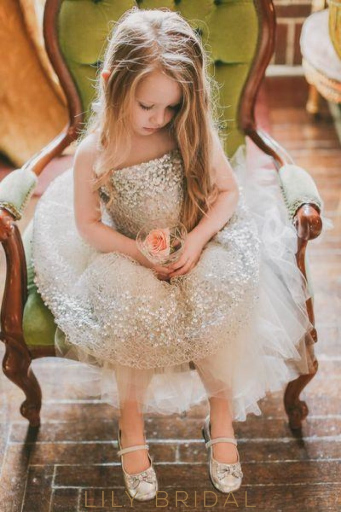 Sequinned Strapless Ball Gown Flower Girl Dress with Sash
