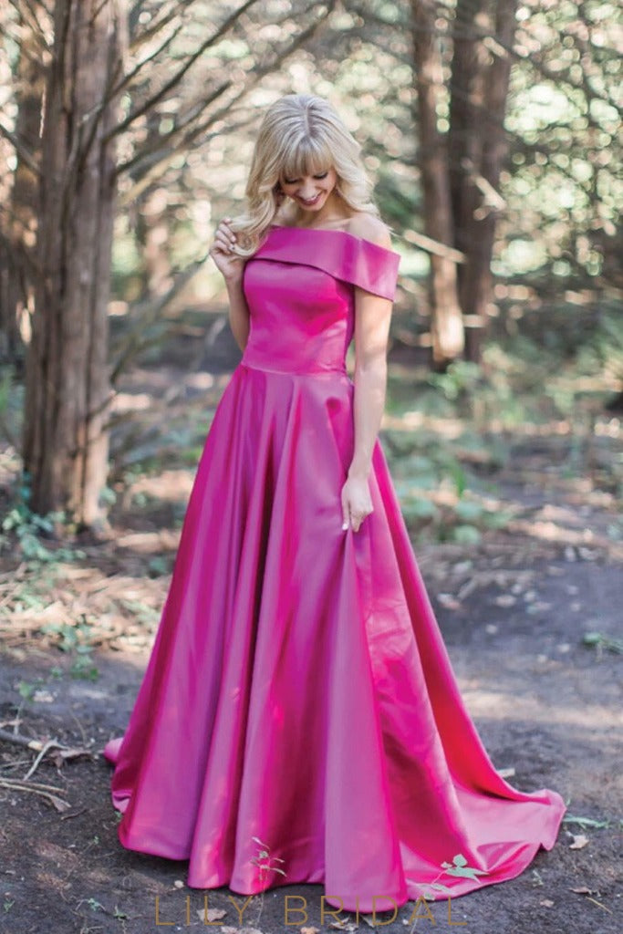 Graceful Off-the-Shoulder Floor Length with Zipper Back Fuchsia Satin Ball Gown Prom Dress