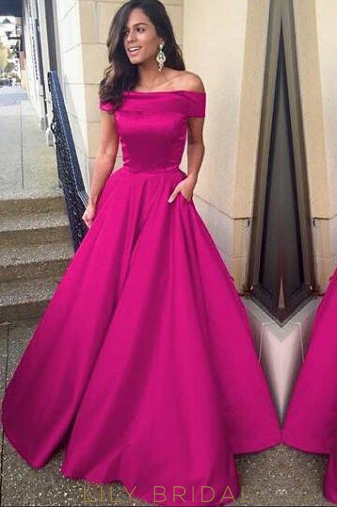Graceful Off-the-Shoulder Sweep Train Satin Prom Dress With Pocket