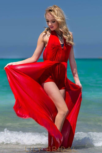 Graceful Plunging V-Neck Halter Sleeveless Red Chiffon Prom Dress