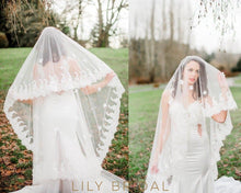 Grand Two Layer Weeding Veil with Lace Applique Scattered