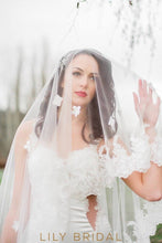 Grand Two Tier Bridal Veil with Lace Applique Scattered