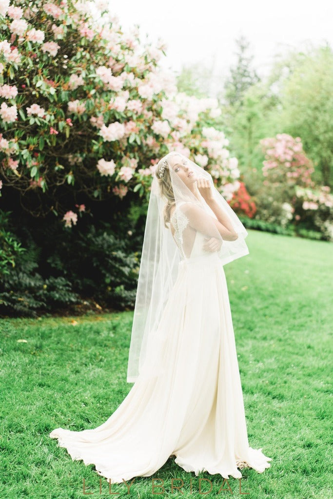 hip length weeding veil