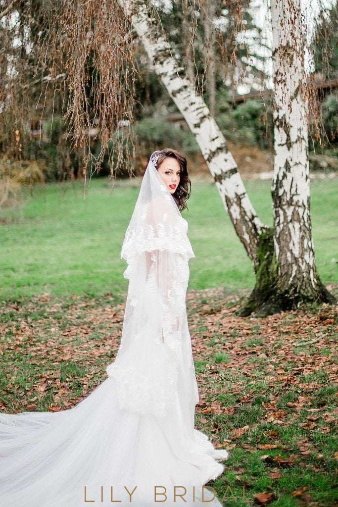 Two Tier Weeding Veil with Lace Applique Scattered