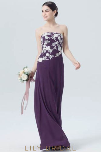 Grape Chiffon Strapless Straight Across Neckline Floor Length Bridesmaid Dress With Lace Applique