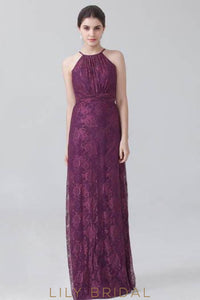 Grape Lace Jewel Neck Floor-Length Floral Formal Bridesmaid Dress