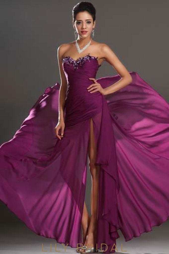 Grape Sweetheart Split Chiffon Evening Dress With Sequin Applique
