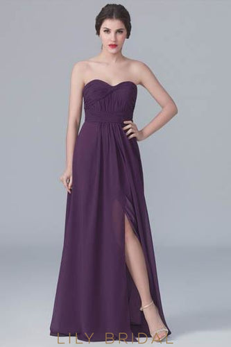 Grape Sweetheart Strapless Ruched Chiffon Formal Evening Dress With Slit