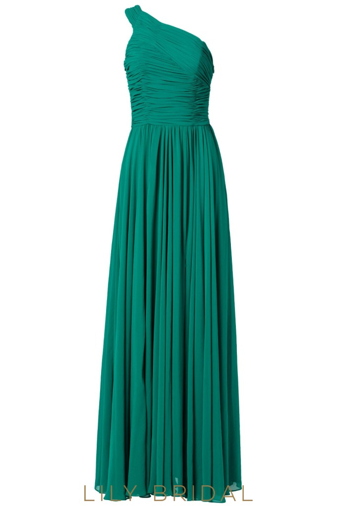 A-Line One Shoulder Floor Length Split Bridesmaid Dress With Ruched Bodice