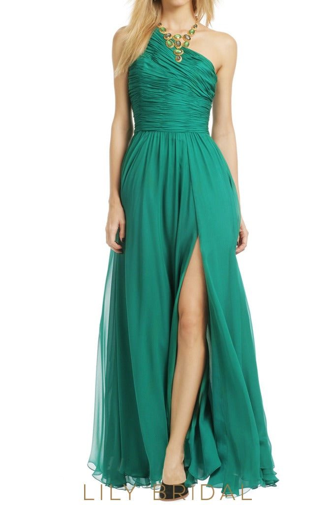 Chiffon A-Line One Shoulder Floor Length Split Bridesmaid Dress With Ruched Bodice