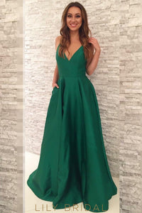 Green Satin V-Neckline Sleeveless Floor-length Prom Dress