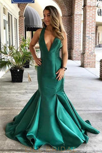 Deep V-Neck Sleeveless Criss-Cross Back Floor-Length Satin Mermaid Prom Dress