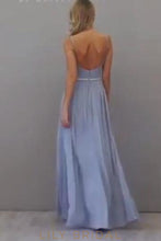Long Backless Spaghetti Strap Chiffon Bridesmaid Dress With Beaded Waistband