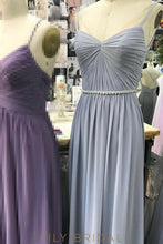 Long Backless Spaghetti Strap Ruched Bridesmaid Dress With Beaded Waistband