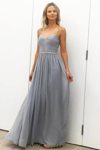 Long Backless Spaghetti Strap Ruched Chiffon Bridesmaid Dress With Beaded Waistband