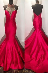 Halter Backless Beaded Charmeuse Mermaid Evening Dress