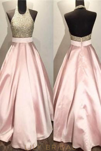 Halter Backless Dusty Rose Floor-Length Satin Prom Dress With Beaded Bodice