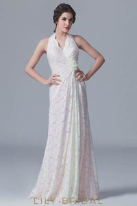 Halter Floor-Length Floral Lace Bridesmaid Dress With Hand-Made Flower