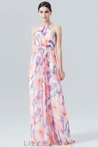 Halter Floor-Length Floral Print Evening Dress With Sash