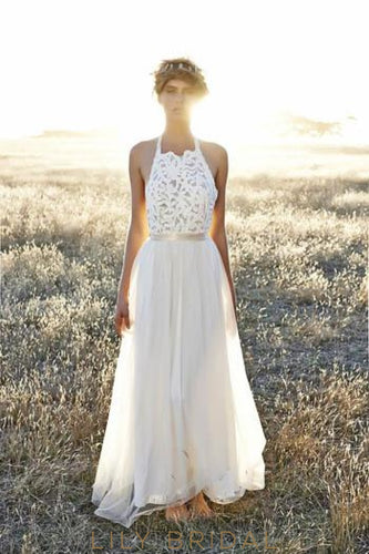 Halter Floor-Length Chiffon Weeding Dress With Lace Bodice