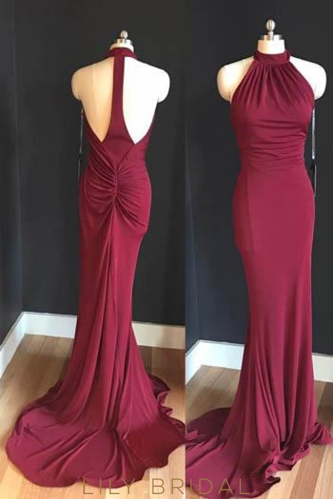 Halter Jersey Bodycon Evening Dress With Sweep Train